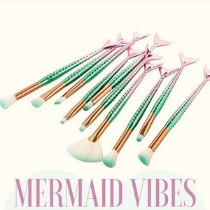 10 PC Mermaid Makeup Brush Set